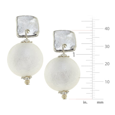 Square Cotton Pearl Drop Earrings
