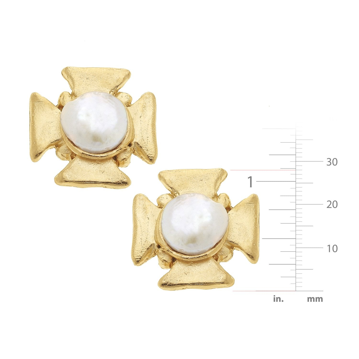 Maltese Cross Pearl CLIP Earrings