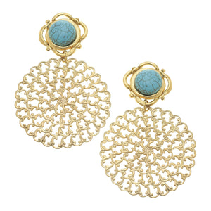 Turquoise + Filigree Earrings