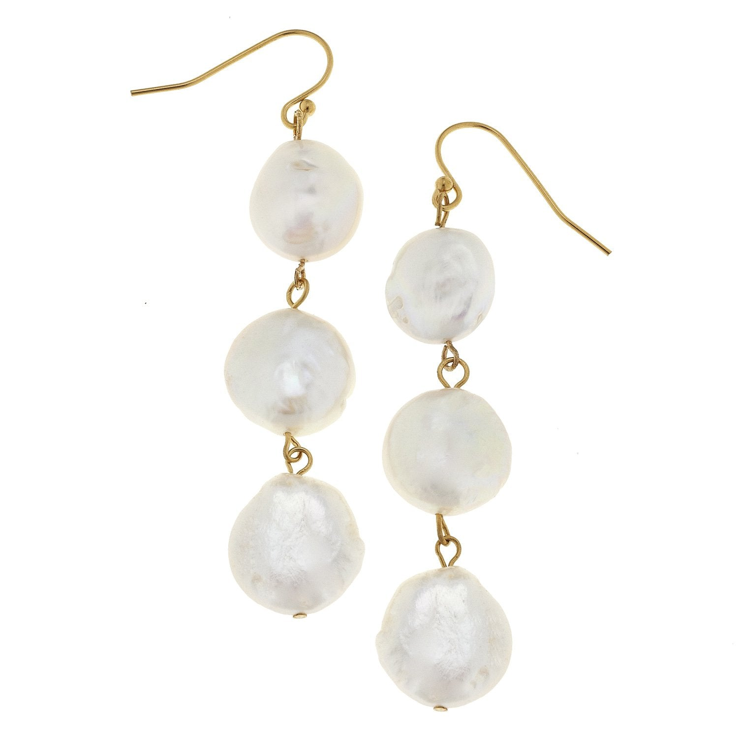 Triple Coin Pearl Earrings