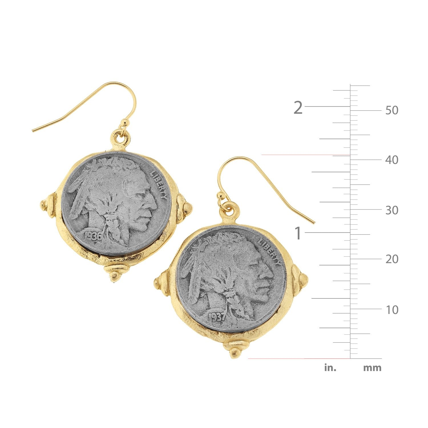 American Indian Nickel Earrings