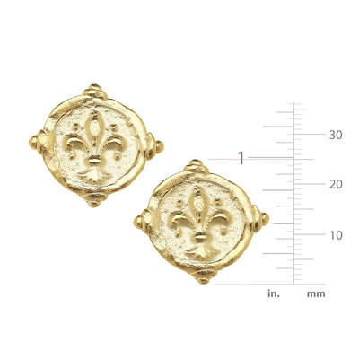 Fleur-De-Lis Intaglio CLIP Earrings