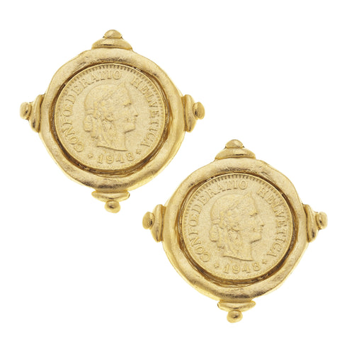Gold Coin Intaglio CLIP Earrings