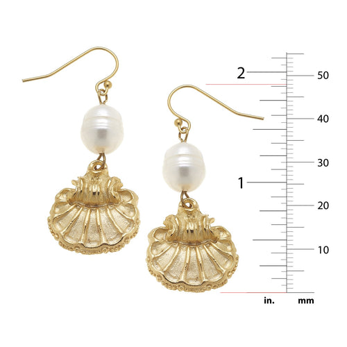 Scallop + Pearl Earrings
