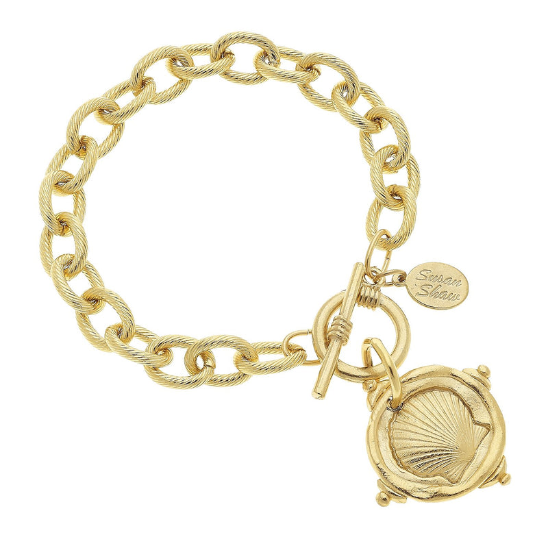 Handcast Gold Sea Shell Bracelet