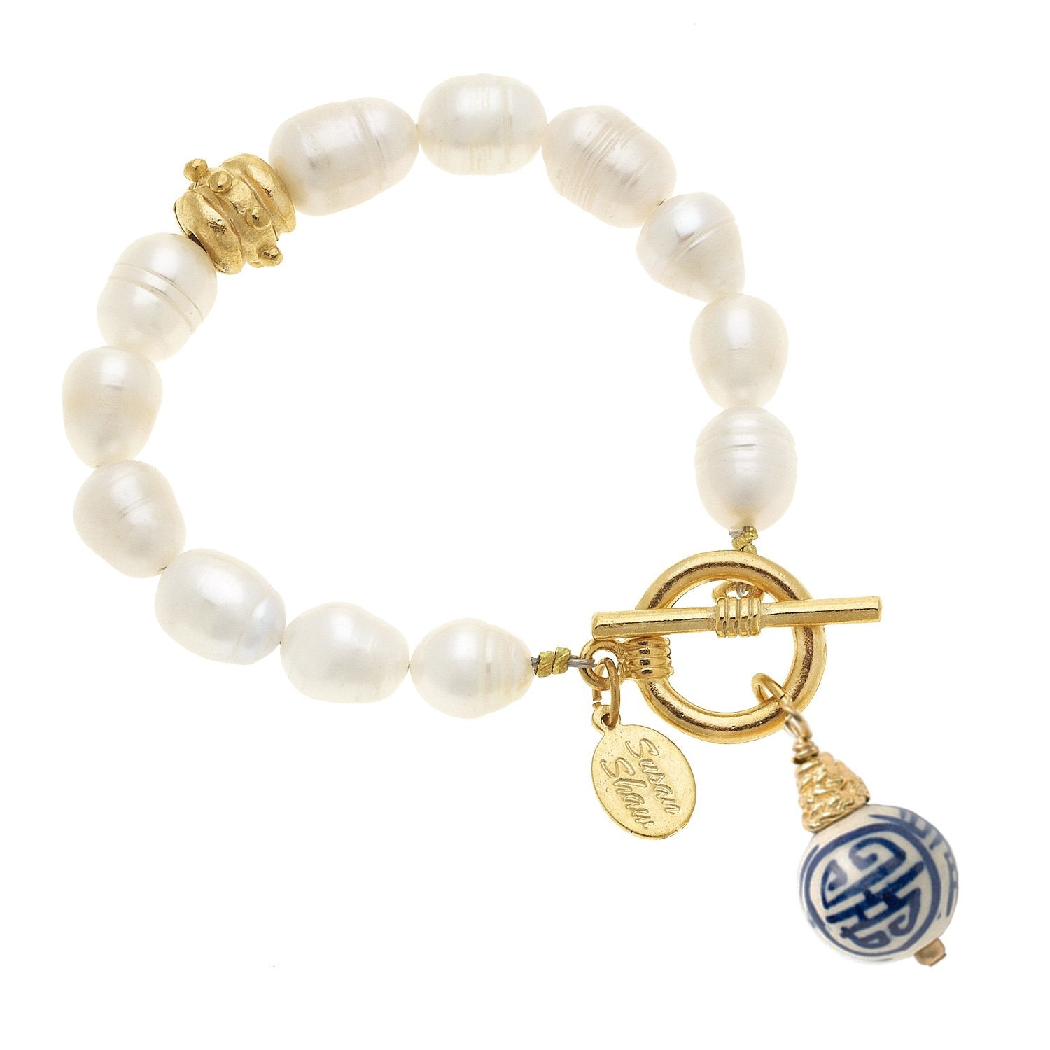 Blue & White Pearl Toggle Bracelet
