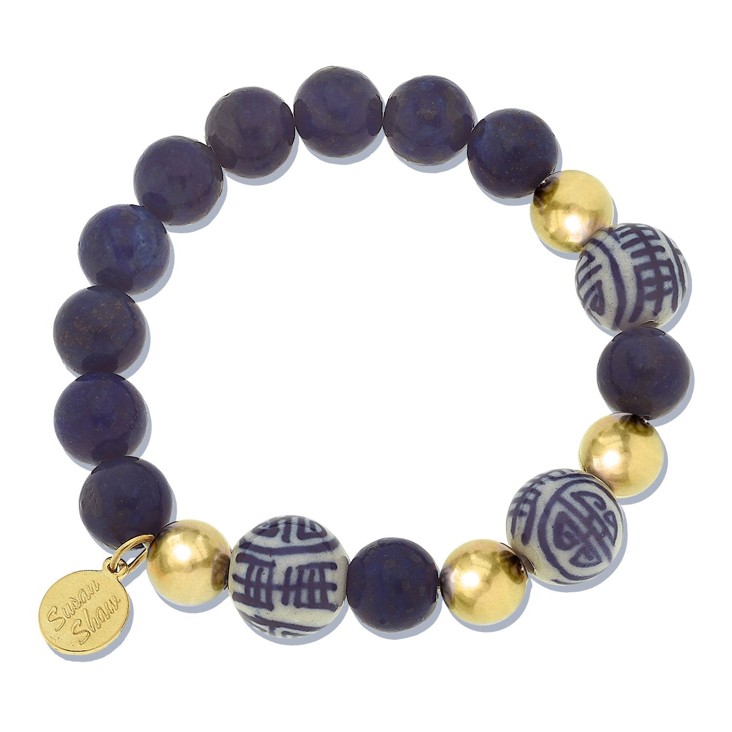 Blue & White Lapis Stretch Bracelet