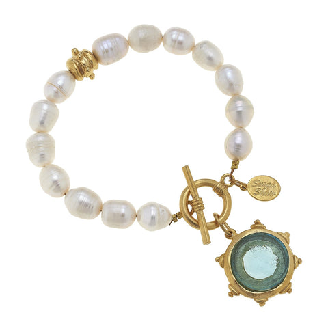 Venetian Glass Bee Pearl Bracelet