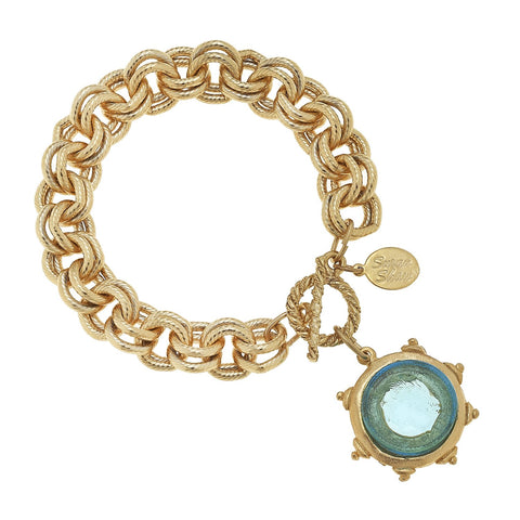 Venetian Glass Coin Intaglio Pearl Necklace