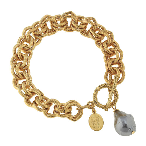 Gold Link Bracelet w/ Grey Baroque Pearl Drop