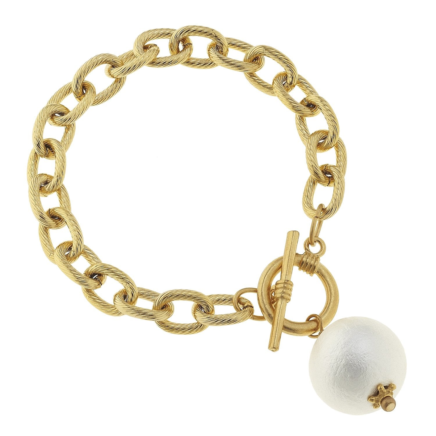 Cotton Pearl Toggle Bracelet