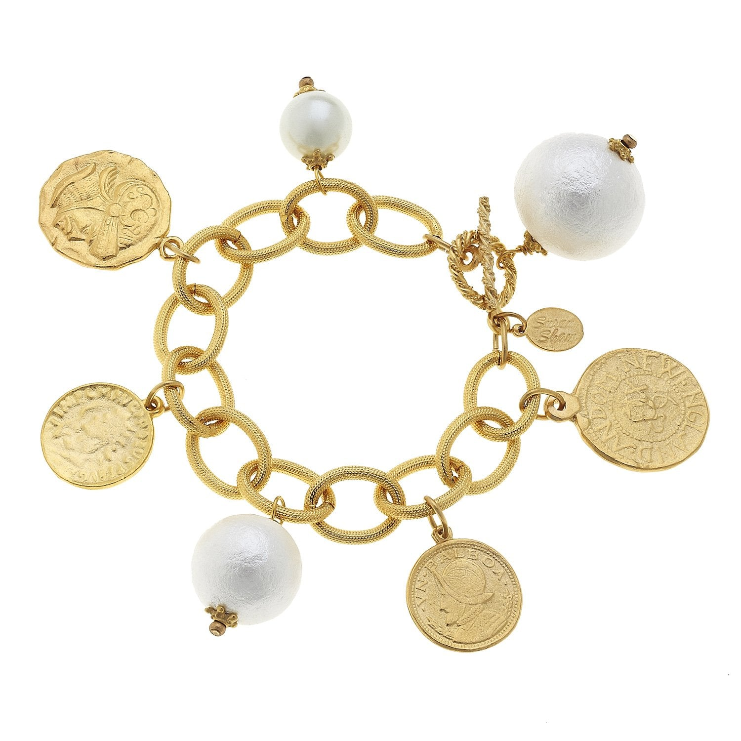 Coin & Cotton Pearl Charm Bracelet