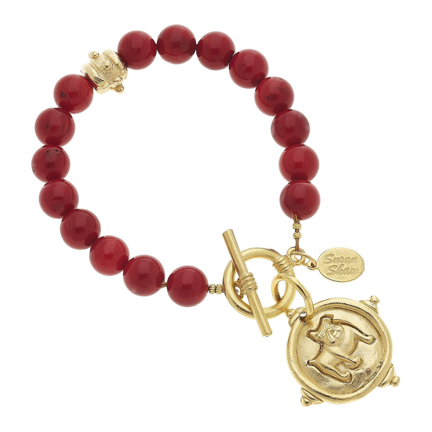Bulldog + Red Coral Bracelet