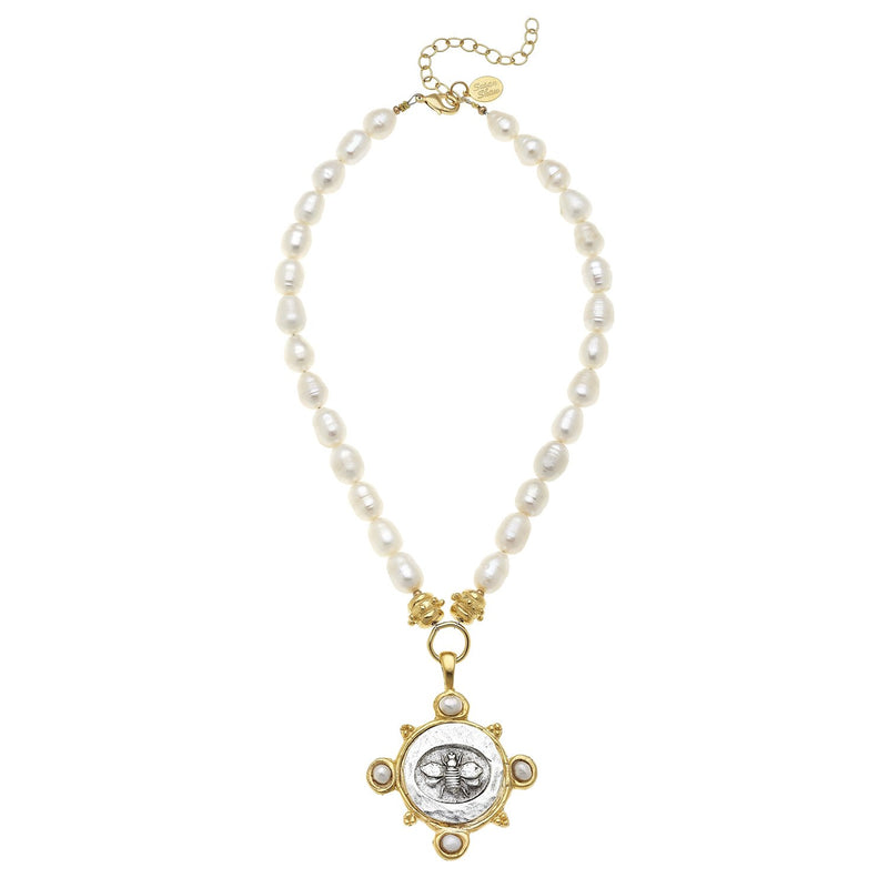 Pearl Necklace with Mixed Metal Bee Pendant