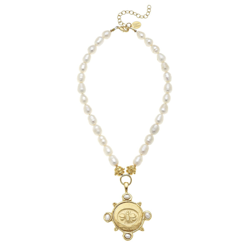Marie Necklace - Bee Pendant and Pearl