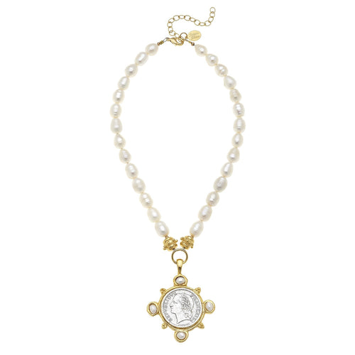 Elegant Coin Pendant Pearl Necklace