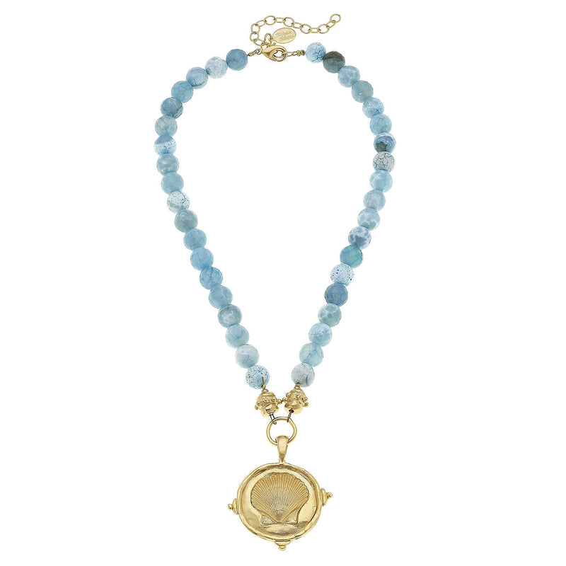 Gold Seashell Pendant on Aqua Fire Agate Necklace