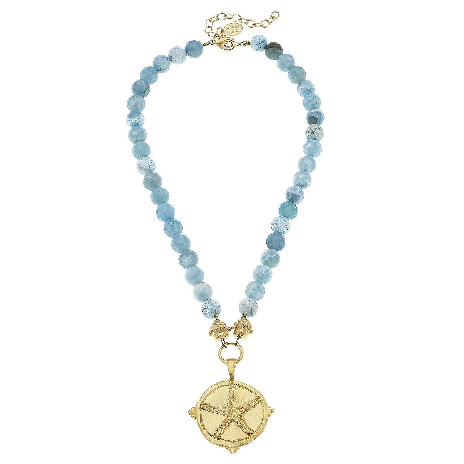Gold Starfish on Aqua Fire Agate Necklace