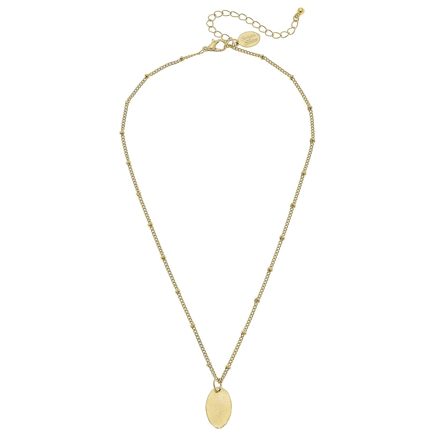 Dainty Oval Pendant Necklace