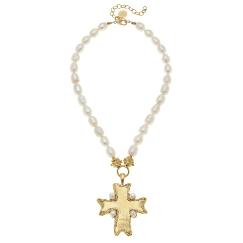 Flare Cross Pearl Necklace