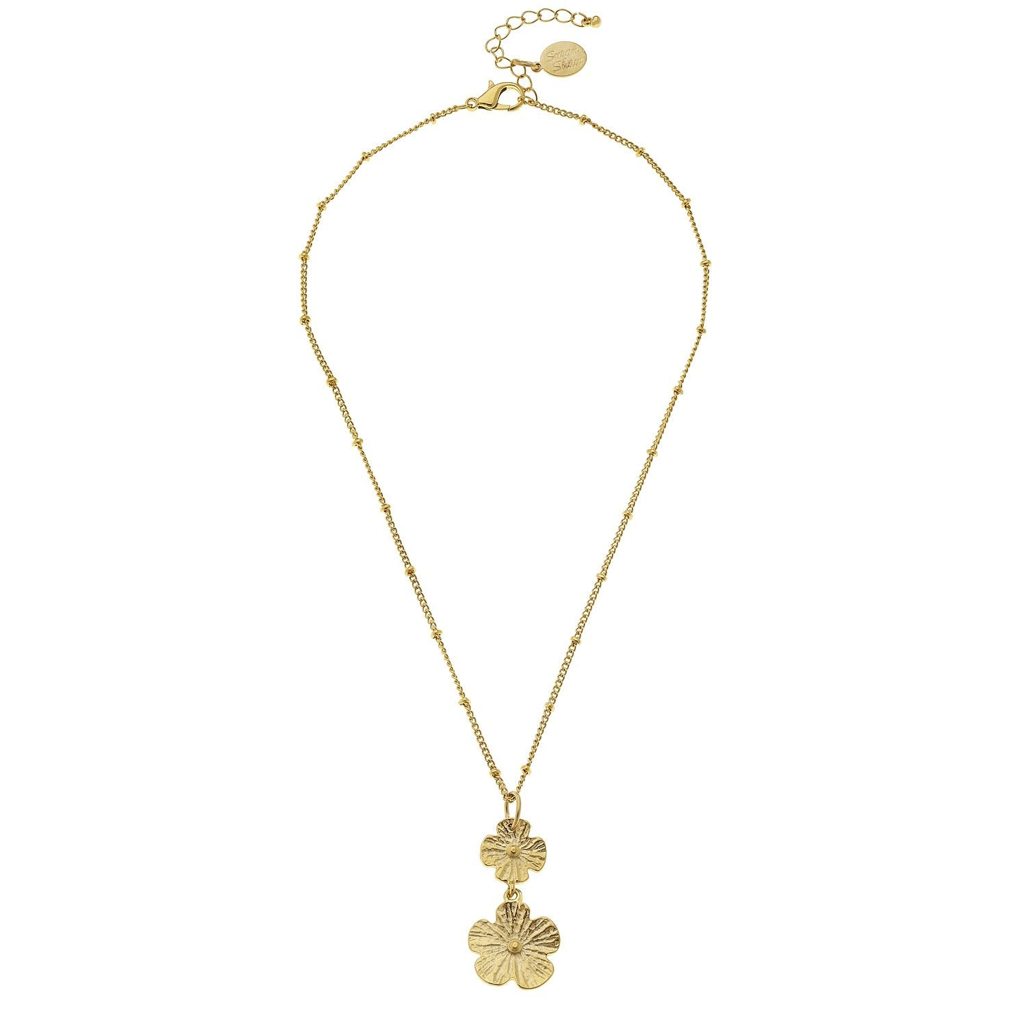 Dainty Double Flower Necklace