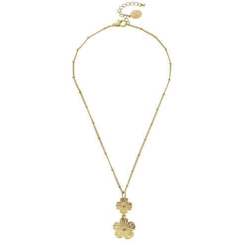 Delicate Double Flower Necklace