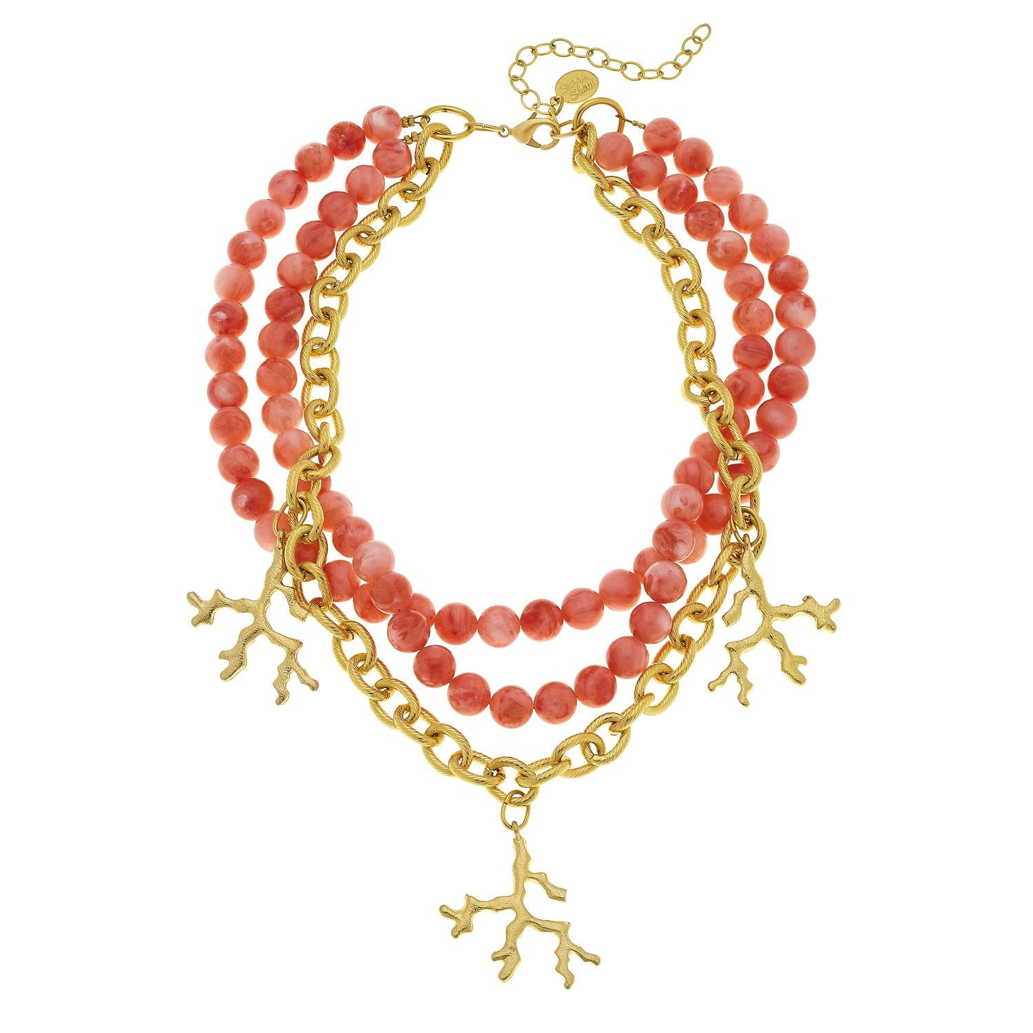 Gold Coral with Multi-Strand Pink Coral Necklace