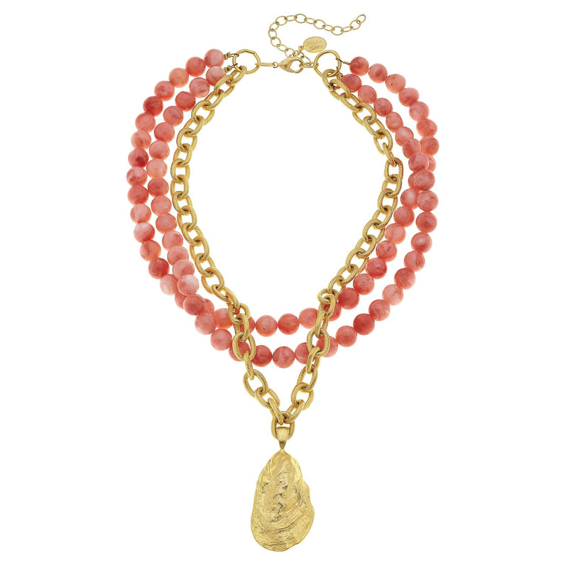 Handcast Gold Oyster and Coral Necklace