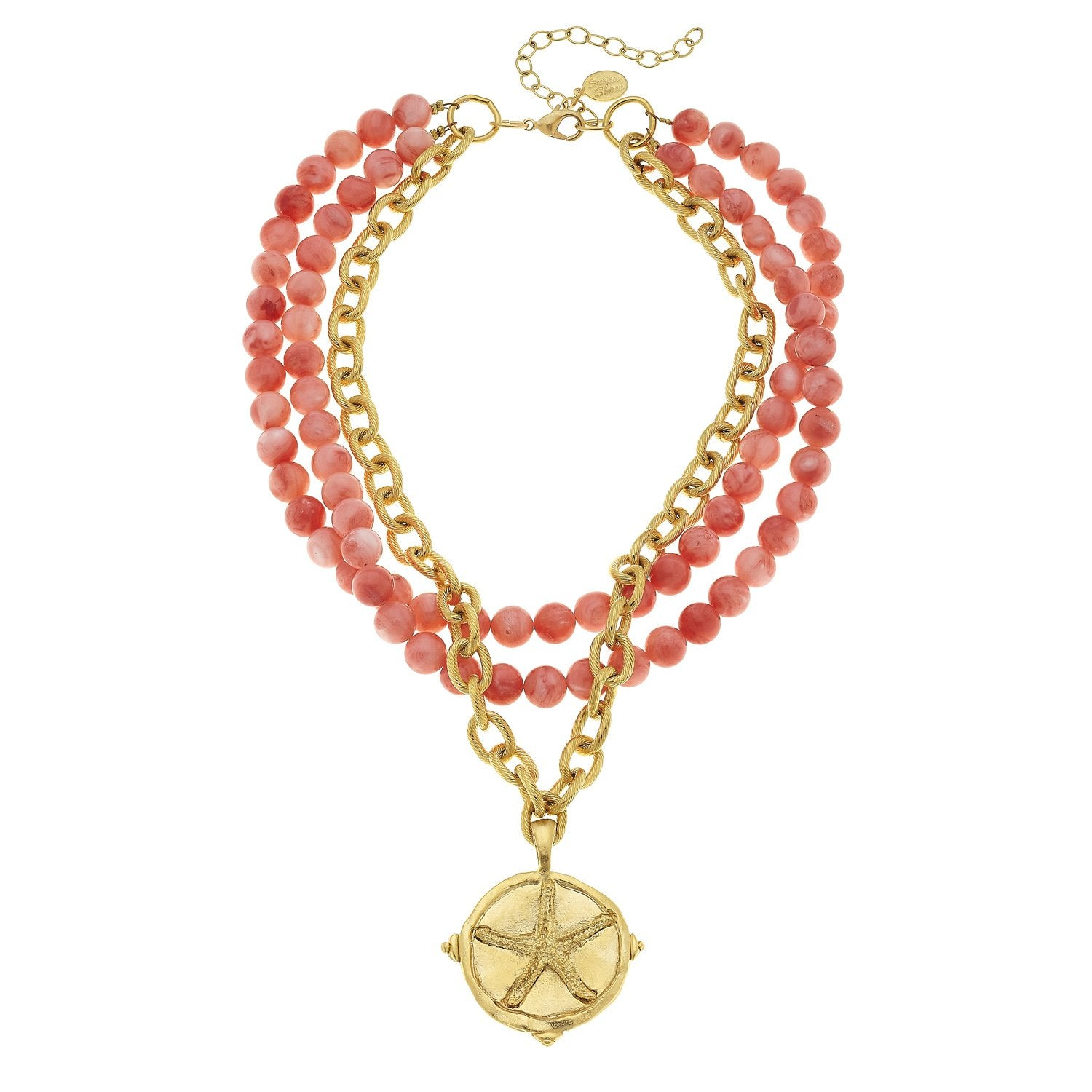 Handcast Gold Starfish and Coral Necklace