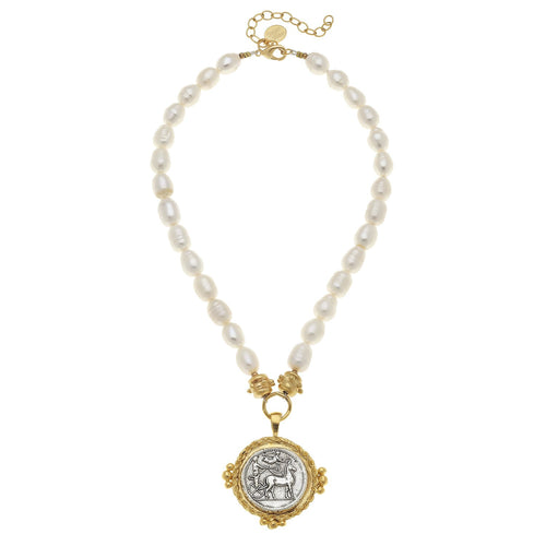 Roman Chariot Coin Pearl Necklace