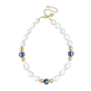 Blue & White Baroque Pearl Necklace