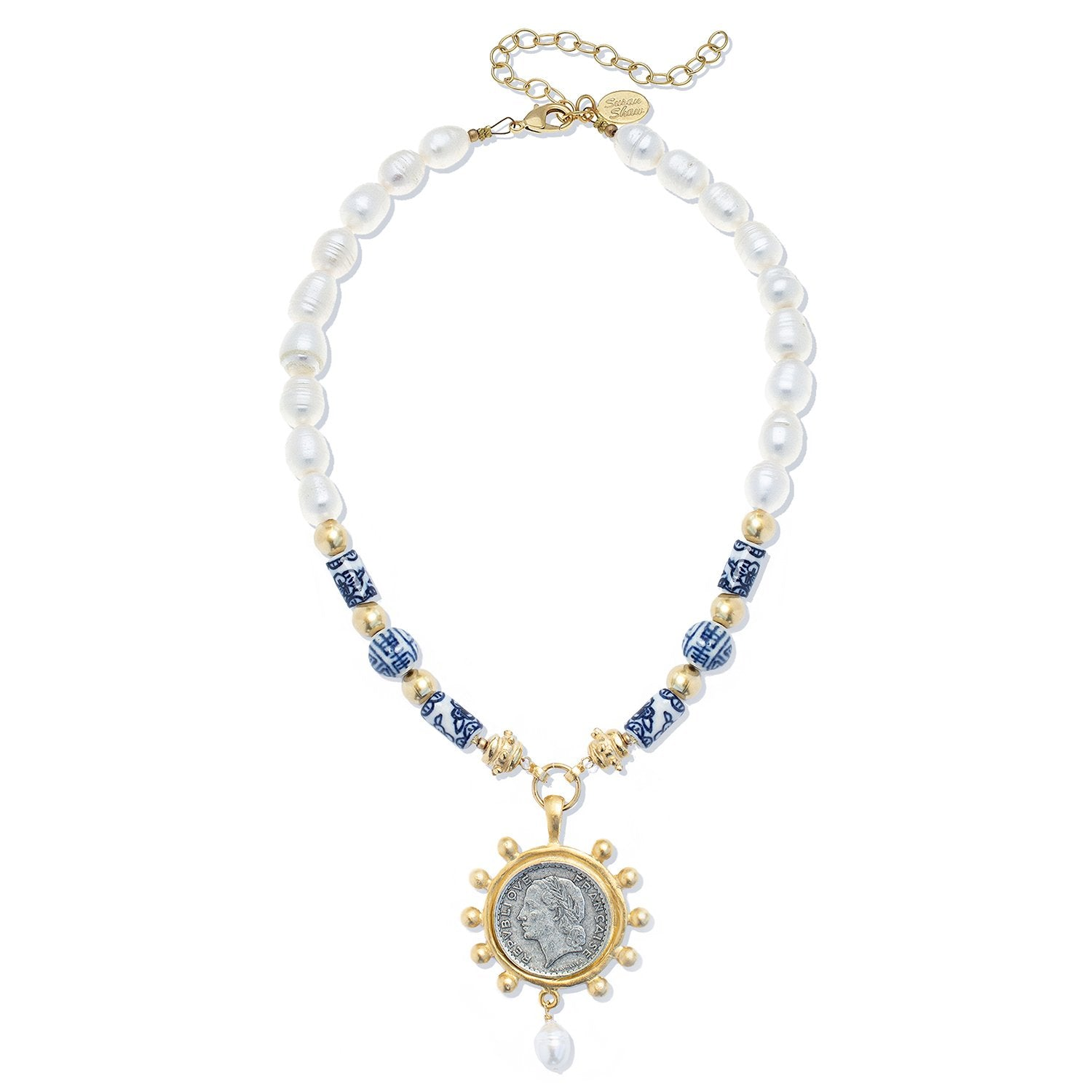 Blue & White French Franc Necklace