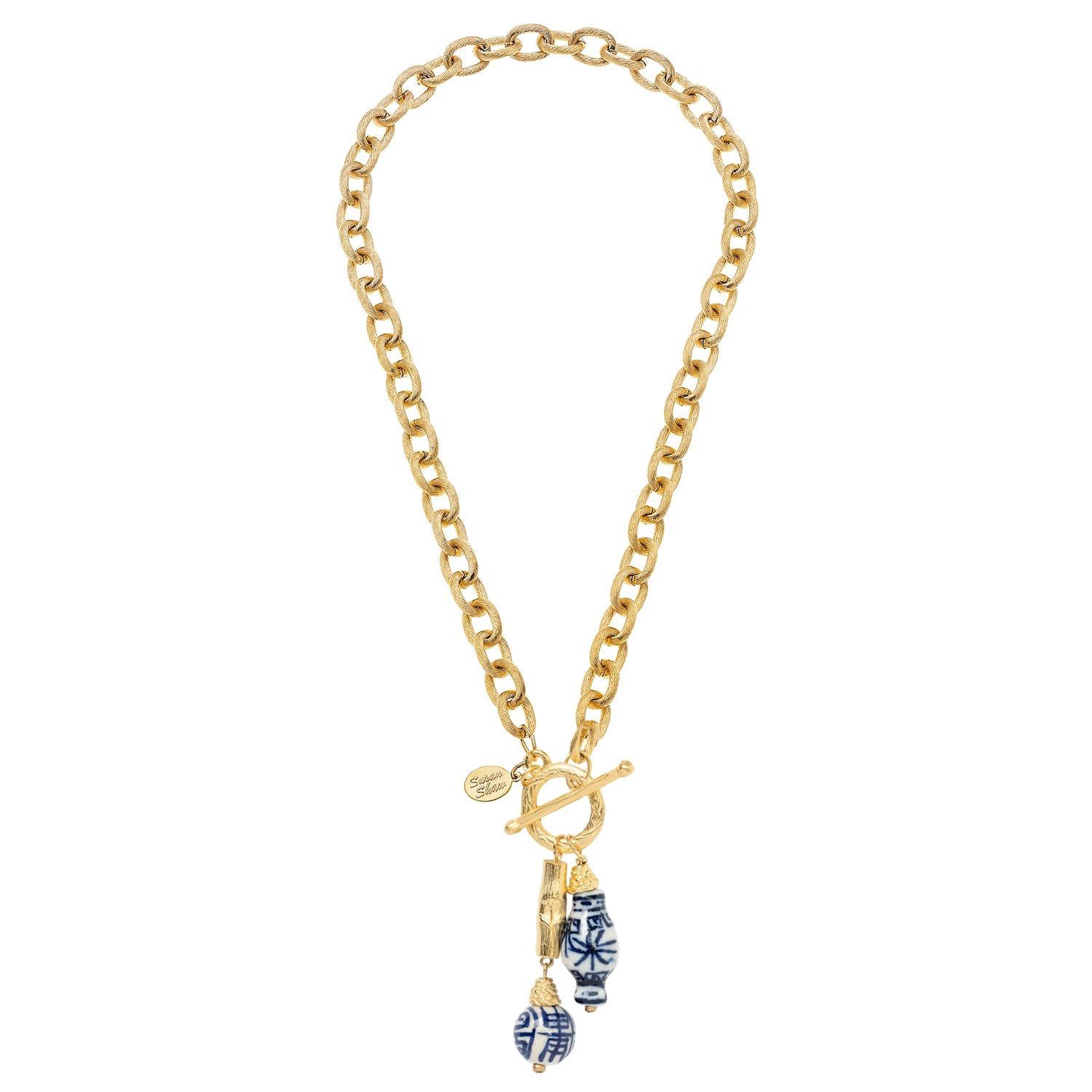 Blue & White Bamboo Toggle Necklace