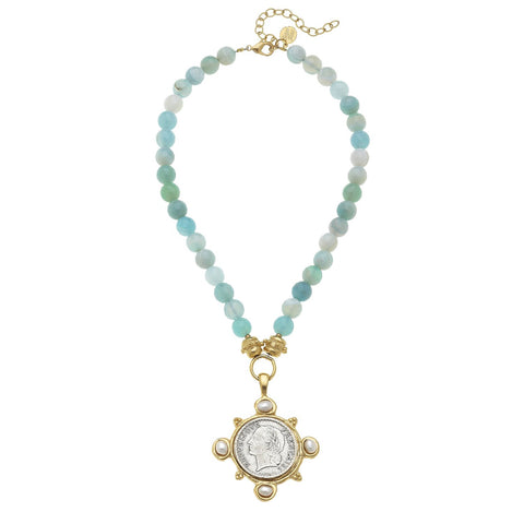Handcast Gold Pendant w/ Genuine Crystal on Cultured Pearl Necklace