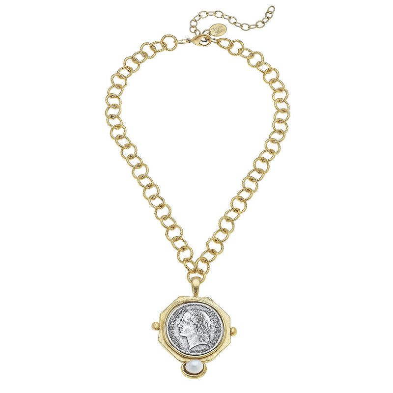 Mixed Metal Coin + Freshwater Pearl Necklace