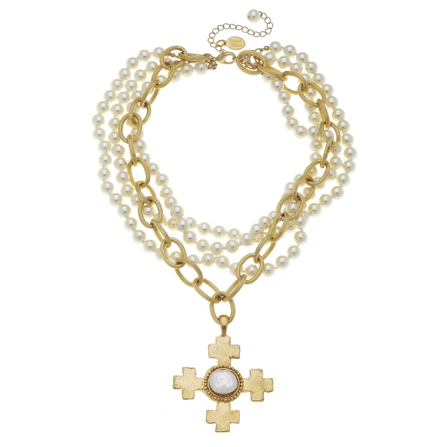 Susan shaw quad cross pendant on multi strand pearl necklace susan quad cross multi strand pearl necklace aloadofball Images