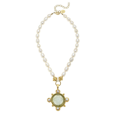 Venetian Glass Elegant Coin Pendant Pearl Necklace