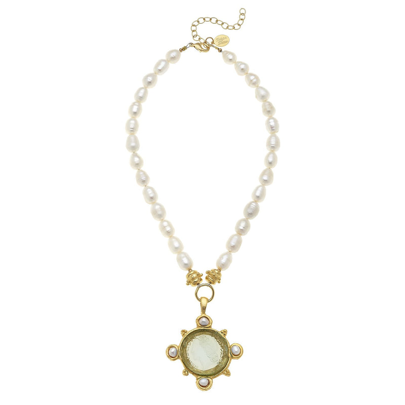 Marie Necklace - Venetian Glass Coin and Pearl