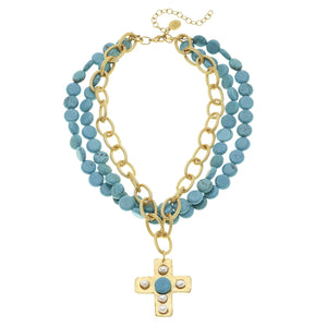 Multi-Strand Turquoise Cross Necklace