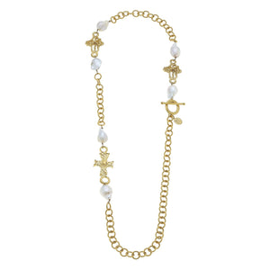 Handcast Gold Cross and Baroque Pearl Necklace