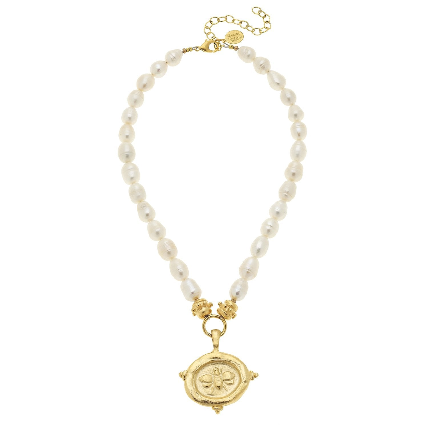 Bee Intaglio Pearl Necklace