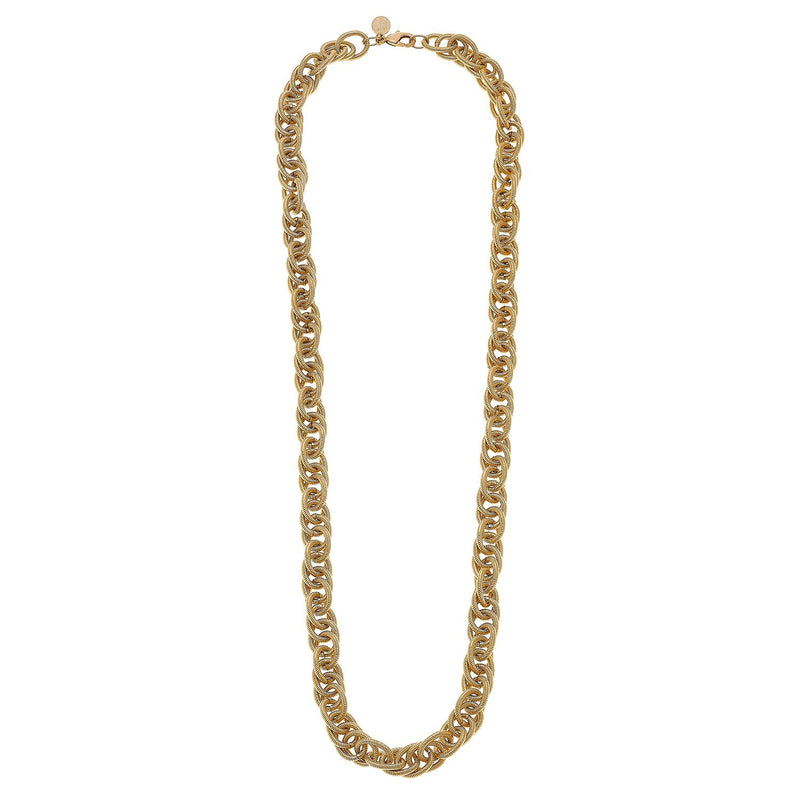 Long Scrunched Chain Necklace