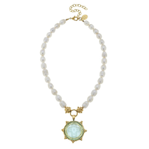 Venetian Glass Elegant Cross Pendant Pearl Necklace