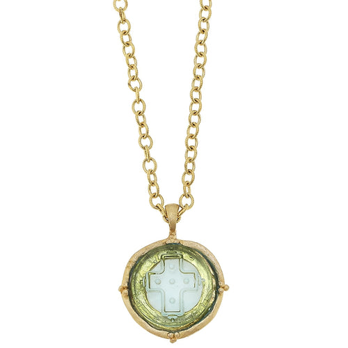 Long Venetian Glass Cross Intaglio Necklace