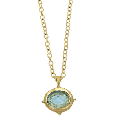 Long Venetian Glass Intaglio Necklace