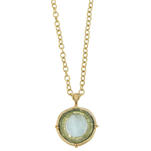 Long Venetian Glass Coin Intaglio Necklace