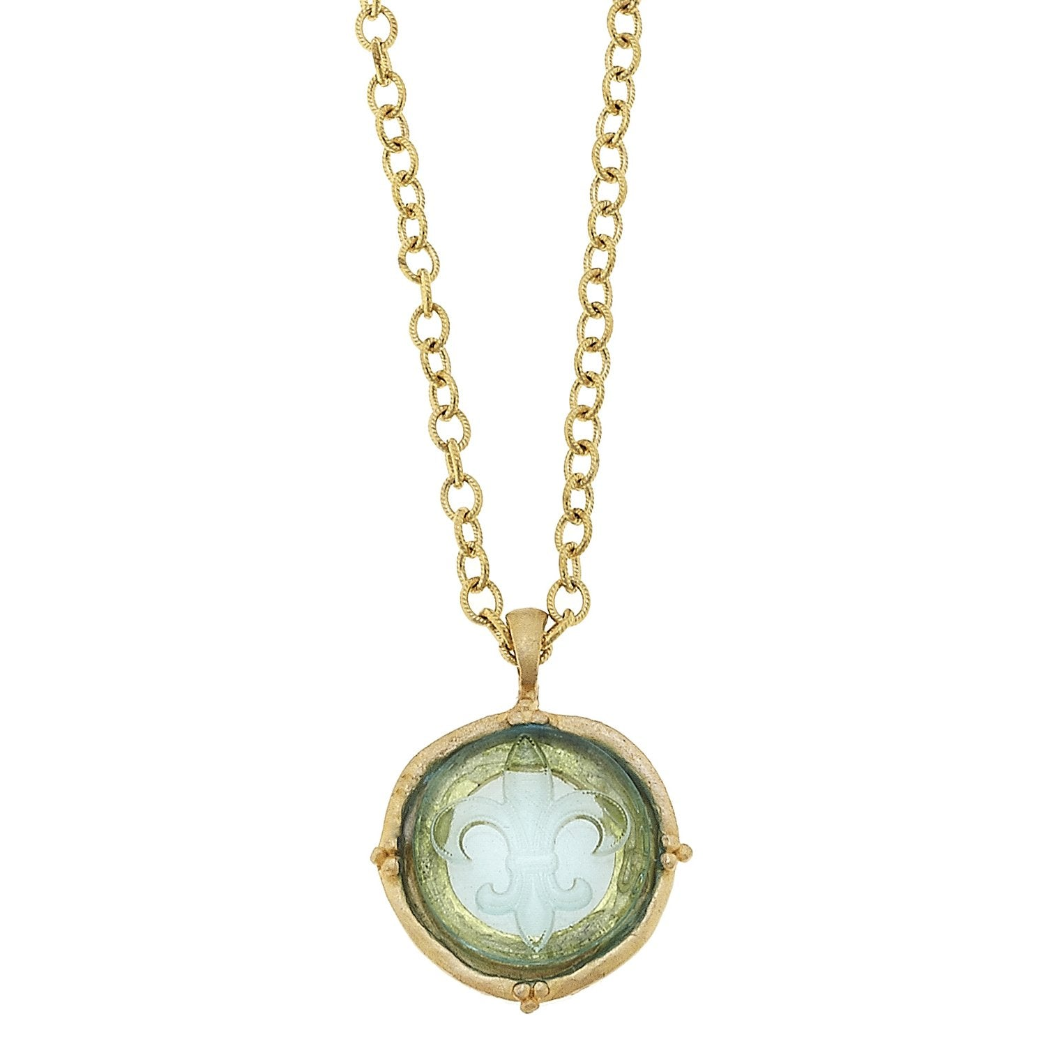 Long Venetian Glass Fleur Intaglio Necklace