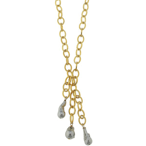 Grey Baroque Pearl Chain Necklace