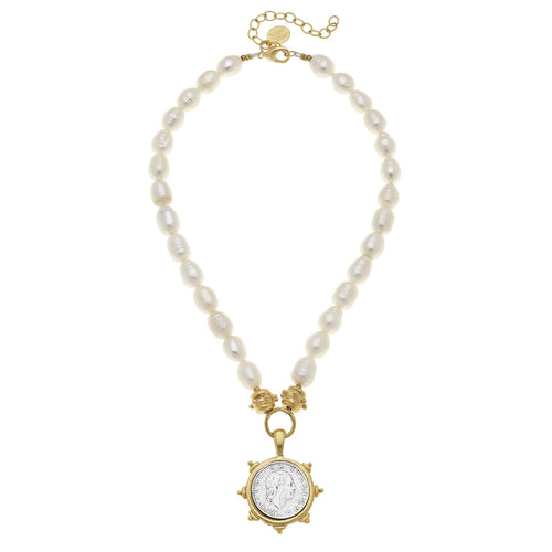 Italian Coin Pearl Necklace