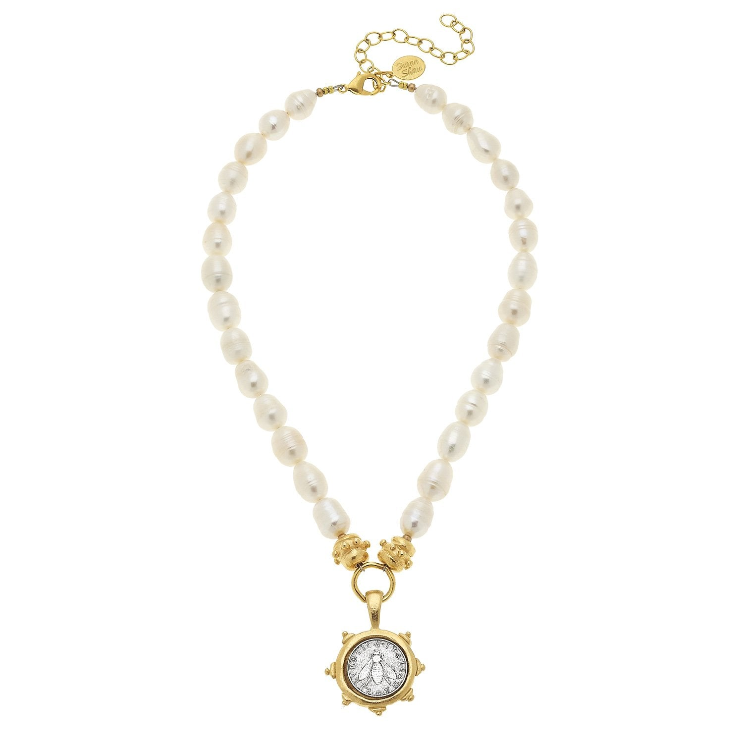 Florence Bee Coin Pearl Necklace